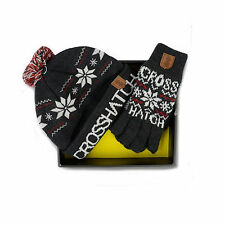 MENS CROSSHATCH HAT & GLOVES GIFT SET STYLE SNOWSTAR - DARK GREY
