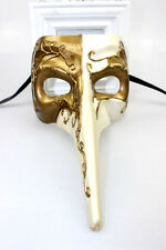 Mens Long Nose Venetian Masquerade Mask Mardi Gras Ivory & Gold Fancy Dress NEW