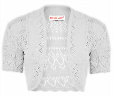 WOMENS CROCHET BOLERO SHORT SLEEVE SHRUG LADIES KNITTED CARDIGAN CROP TOP 8-26