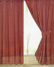 """NEW Pair of Lined Pencil Pleat Curtains + Tie Backs 46"""" x 54"""" - Terracotta"""
