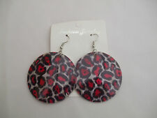Leopard Print Shell Round Drop Earrings Deep Pink New