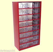 Kleinteilemagazin mit 16 Schubladen Werkstattmagazin Sortimentskasten rot