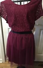 Speechless Ladies Burgundy Holiday Dress Size 3X Sequin Tulle Overlay Plus Size
