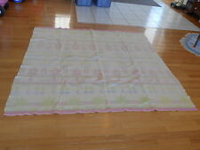 Vintage Western Camp Blanket Unusual Pastel Colors Faded Geometric W/wear (AeB