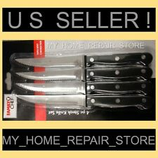 FAMILY CHEF STEAK KNIVES -4 PIECE SET W/ RIVETED STAINLESS STEEL SERRATED BLADES