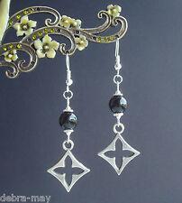 Cruz Celta & negro ágata piedra preciosa del grano colgantes pendientes