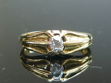 Stunning 18ct gold 0.30ct Old mine cut solitaire diamond Gents ladies ring Au40