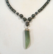 "HEMATITE BEADED GREEN AVENTURINE PENDANT NECKLACE MAGNETIC CLASP 18"" LONG"