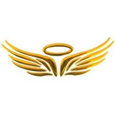 STICKER autocollant pour voiture AUREOLE ET AILES D'ANGE en 3D OR