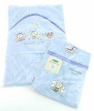 Mothercare Garden Creatures Flannels 2 Pack + Baby Towel Blue Bee Snail (C80S1)