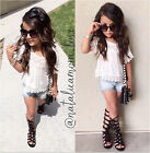 2015 New Baby Girls Kids Summer Lace T-Shirt Top+Short Jeans Outfits Set 2-7Y