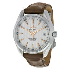New Omega Aqua Terra Silver Dial Alligator Strap Mens Watch 231.13.42.21.02.003