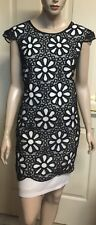 Gitane Black And White Lace Shift Dress Fully Lined Sz 10
