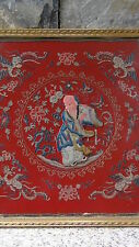 ANTIQUE CHINESE SILK EMBROIDERY GOLD TREADS RELIEF IMMORTAL AND 4 PHOENIX BIRDS
