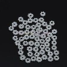 100 Silver Plated Daisy Flower Spacer Loose Beads Charm Bracelets Necklace DIY