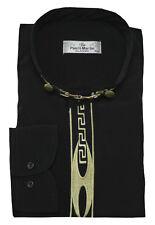 Designer Hemd mit Stehkragen DP-35-R schwarz +Stickerei  XXL  HW45-46 Regular