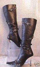 STEVE MADDEN BLACK LEATHER BUCKLE KNEE HIGH STILETTO BIKER FASHION BOOTS SZ 7.5