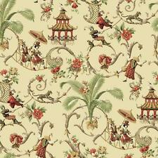 Wallpaper Waverly Mandarin Prose Asian Toile Scroll on Beige Palms Pagoda Floral