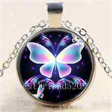 Fluorescent Butterfly Cabochon Glass Tibet Silver Chain Pendant Necklace#CJ93