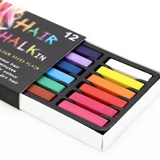 12 HAIR CHALK TEMPORARY HAIR DYE COLOUR SOFT PASTELS SALON KIT