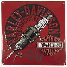 Ande Rooney HARLEY DAVIDSON SPARKED Spark Plug Tin HD Motorcycle Garage Sign