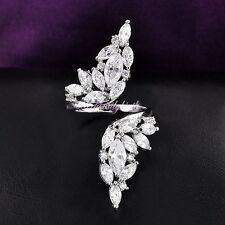 One Size Adjustable Cutout Finger Ring Cluster Marquise Zirconia Women Gift R975