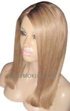 "Remy Human Hair Wig Glueless Front Lace 16"" Long Dark Blonde 27 Brown 4 Roots UK"