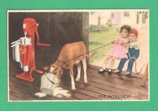 VINTAGE FARM ADVERTISING POSTCARD SHARPLES CREAM SEPARATOR KIDS COW MILK BUCKET