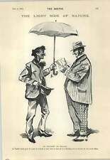 1894 English Tourist Accommodating Local Sober Cabby Cartoon