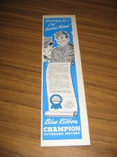 1945 Print Ad Blue Ribbon Champion Outboard Motors Happy Soldier Cartoon