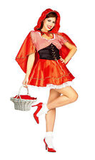 LADIES RED RIDING HOOD FAIRY TALE COSTUME FANCY DRESS HALLOWEEN OUTFIT NEW 12-14