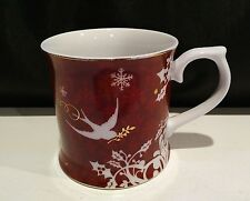 Starbucks Coffee Mug Cup By Rosanna Red White Doves Gold Stars 2010 12oz