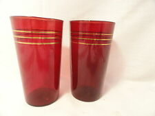 2 Ruby Gold Rings  4 3/4 Inch Depression Glass Tumblers