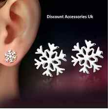 2x (4 earrings) Snowflake Silver Stud Earrings Present Xmas Gift  Christmas Uk