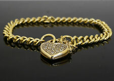 "9ct Yellow Gold 7"" Rounded Curb Link Bracelet W/ Diamond Heart Clasp (5mm Wide)"