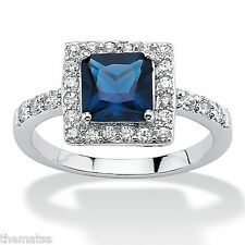 WOMEN PRINCESS CUT SEPTEMBER SAPPHIRE STONE STERLING SILVER RING 5 6 7 8 9 10