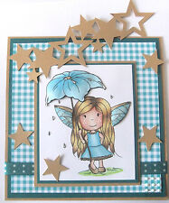 Fairy Faye with a flower Umbrella L@@K@ examples Paper Nest Dolls Rubber Stamps