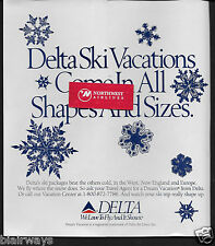 DELTA AIR LINES 1989 SKI VACATIONS COME IN ALL SHAPES & SIZES SNOW FLAKES AD