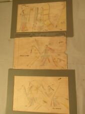 3 ANTIQUE SIOUX INDIAN LEDGER DRAWINGS Lot 193