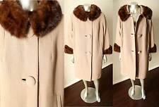 Mink Collar Cuff 100% Wool Fur Trim Worseted Taupe Brown Vintage  60s Coat M