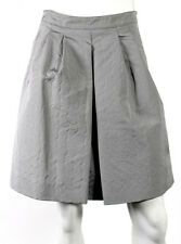 PRADA Gray Silk Blend Geometric Jacquard Pleated A-Line Full Skirt 36