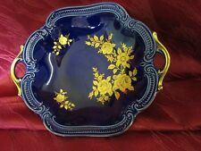 Wunsiedel echt Kobalt Schale blau echt GoldRosen Bavaria Porzellan Germany 22958