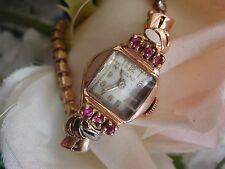 1940's Ladies Art Deco 14K Tower Rose Gold Ruby Watch ~ Stunning Rose Gold Band