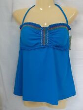 Lucky Brand Size S Small Size Blue Banded Neck Tie Tankini New Womens Swimwear