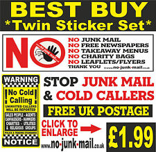 Vinyl Door Decal Sticker set No Junk Mail Letterbox Sign - No Cold Callers BRYC