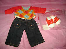 NEW American Girl Bitty Baby Twins Doll Red Argyle Boy Outfit Pants Shirt Shoes