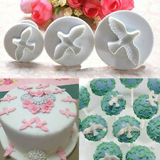 Cute 3PCS White Cake Cookie Molds Dove PIgeon Bird Mould Cutter Fondant Plunger