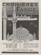 """""""CROISIERES FABRE"""" Annonce orig. entoilée L'ILLUSTRATION 17/11/1928 Sandy HOOK"""