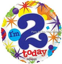 I'M 2 TODAY Mylar Happy Birthday Balloons SET OF 2 17 Inch FREE SHIP