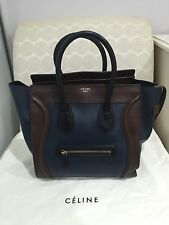 CELINE Mini Luggage Navy Blue Brown Tote Bag Leather (Size Large) AUTHENTIC